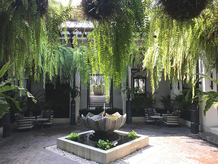 A quiet courtyard in a privately owned boutique hotel, Bangkok.